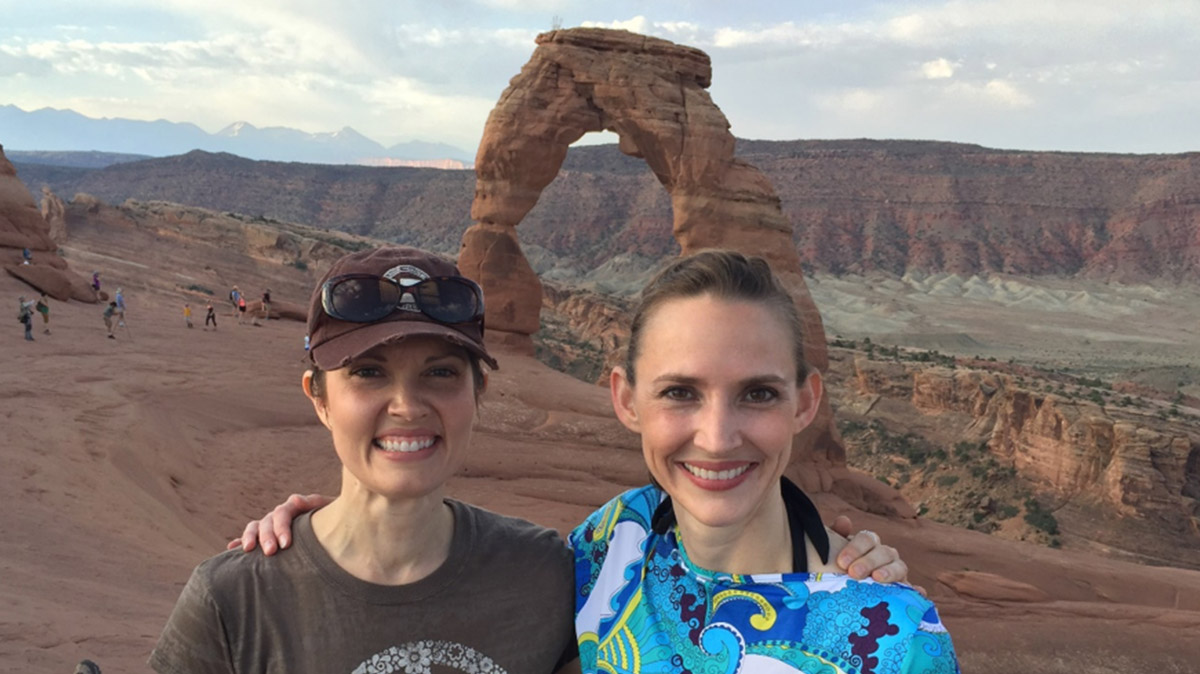 At film shoot in Moab with eBusiness team member Valina Axelgard, 2016