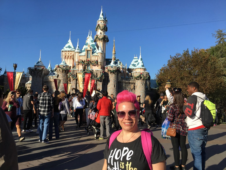 Andrya on one of her many trips to Disneyland