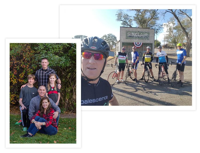 Tony Harris and Family and Tony Biking in Elberta, UT