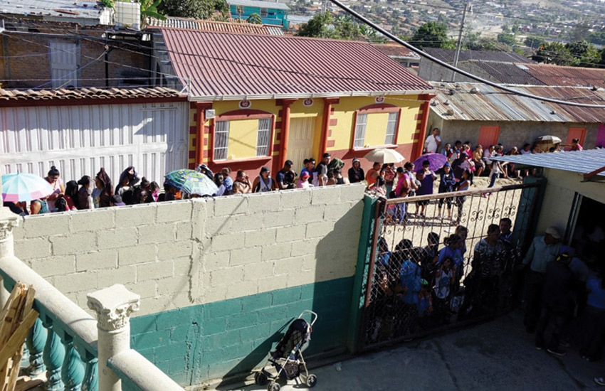 Residents line up to receive care