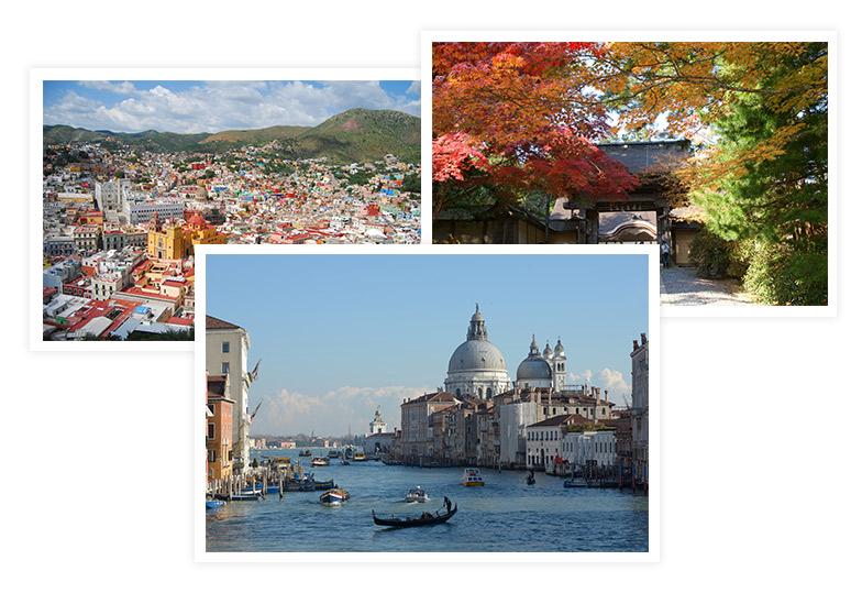 Mexico, Italy, Japan