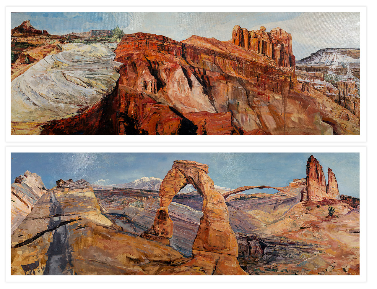 Portions of red rock painting