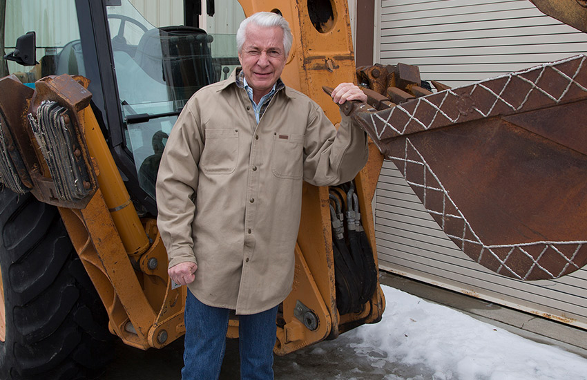 Dr. Fischer and backhoe