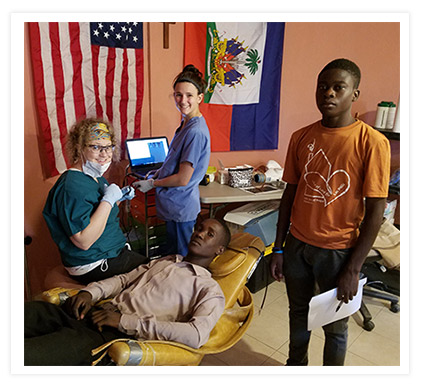 Patients at the humanitarian clinic in Haiti